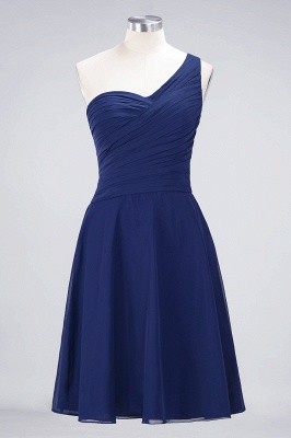 A-line Chiffon One-Shoulder Sweetheart Summer Knee-Length Bridesmaid Dress UK with Ruffles_25