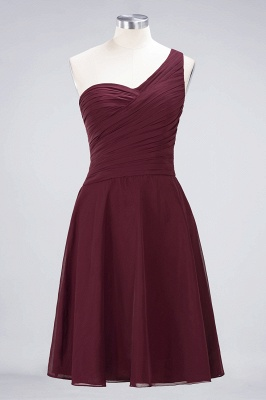A-line Chiffon One-Shoulder Sweetheart Summer Knee-Length Bridesmaid Dress UK with Ruffles_10