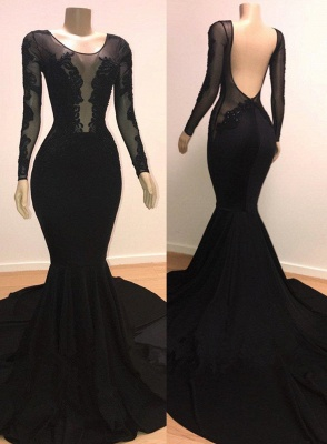 Unique Scoop Sleeved Mermaid Evening Gowns Open Back Prom Dresses UK_1