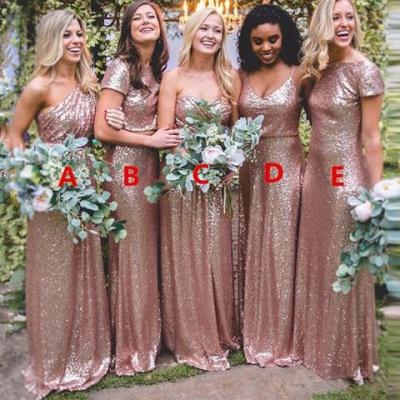 Gorgeous Sequin Gold Bridesmaid Dresses Long Wedding Guest Dresses_4