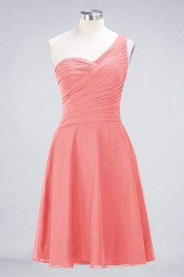 A-line Chiffon One-Shoulder Sweetheart Summer Knee-Length Bridesmaid Dress UK with Ruffles_7