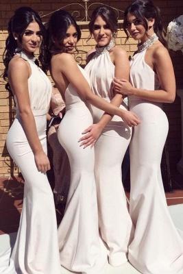 Elegant Halter Mermaid Ruched Long Bridesmaid Dresses Online_1