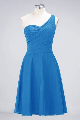 A-line Chiffon One-Shoulder Sweetheart Summer Knee-Length Bridesmaid Dress UK with Ruffles_24