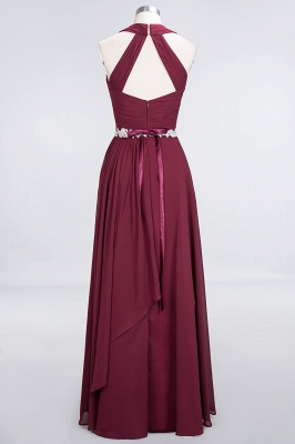 Charming Halter V-Neck Sleeveless Ruffle Bridesmaid Dress with Sashes Online_2