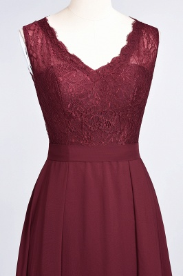 Modest Chiffon Lace Bridesmaid Dress V-Neck Sleeveless Online_5