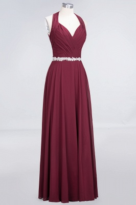 Charming Halter V-Neck Sleeveless Ruffle Bridesmaid Dress with Sashes Online_3