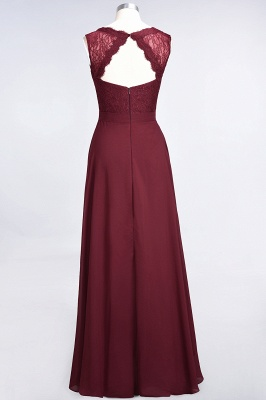 Modest Chiffon Lace Bridesmaid Dress V-Neck Sleeveless Online_3