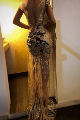 Beautiful One Shoulder V-Neck Sheath Sexy Backless Open back Floor-Length Exclusive Prom Dresses UK | New Styles_3