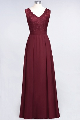 Modest Chiffon Lace Bridesmaid Dress V-Neck Sleeveless Online_2