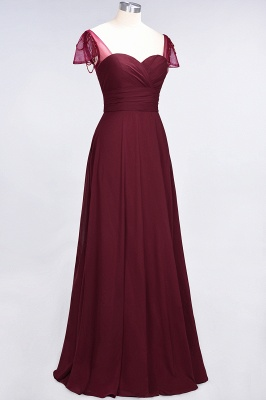 Elegant Chiffon Sweetheart Cap-Sleeves Bridesmaid Dress with Ruffles Beadings_4