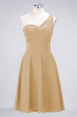A-line Chiffon One-Shoulder Sweetheart Summer Knee-Length Bridesmaid Dress UK with Ruffles_13