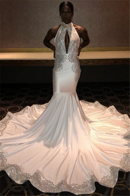 Chic Halter Sleeveless Prom Dress Long Mermaid Evening Party Gowns With Appliques_1