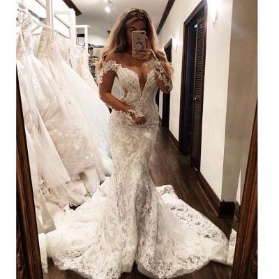 Elegant Mermaid Off-the-Shoulder Wedding Dresses Long-Sleeves V-Neck Appliques | Bridal Gowns Online_3