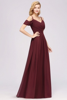 A-Line Chiffon Womens V-Neck Thin Straps Short-Sleeves Floor-Length Bridesmaid Dresses with Ruffles | Suzhoudress UK_4