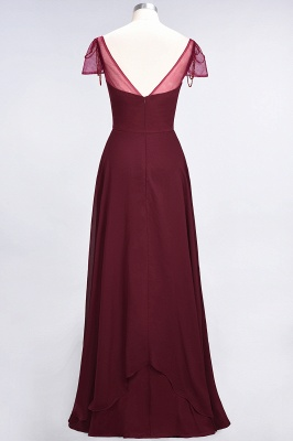 Elegant Chiffon Sweetheart Cap-Sleeves Bridesmaid Dress with Ruffles Beadings_3
