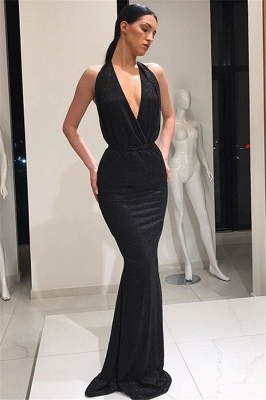 Beautiful Deep V-Neck Sleeveless Prom Dresses Lace-up Mermaid Evening Party Gowns_4