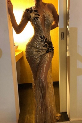 Beautiful One Shoulder V-Neck Sheath Sexy Backless Open back Floor-Length Exclusive Prom Dresses UK | New Styles_2