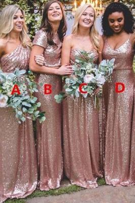 Gorgeous Sequin Gold Bridesmaid Dresses Long Wedding Guest Dresses_2
