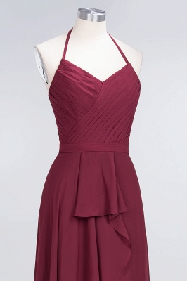 Amazing Chiffon Halter V-Neck Bridesmaid Dresses Sleeveless With Ruffles_5