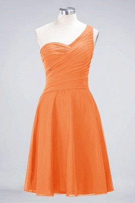 A-line Chiffon One-Shoulder Sweetheart Summer Knee-Length Bridesmaid Dress UK with Ruffles_15