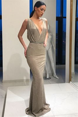 Beautiful Deep V-Neck Sleeveless Prom Dresses Lace-up Mermaid Evening Party Gowns_5