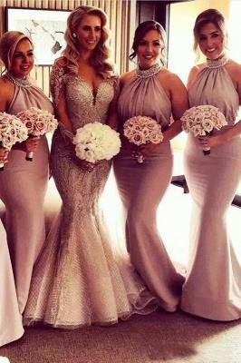 Elegant Halter Mermaid Ruched Long Bridesmaid Dresses Online_2