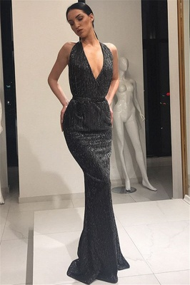 Beautiful Deep V-Neck Sleeveless Prom Dresses Lace-up Mermaid Evening Party Gowns_6