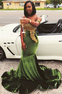Chic Off-the-Shoulder Appliques Zipper Sweep Train Mermaid Fit and Flare Prom Dress UKes UK_1