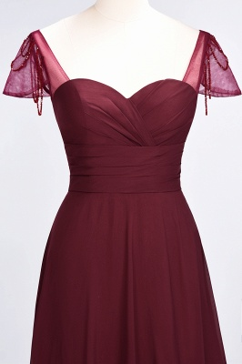 Elegant Chiffon Sweetheart Cap-Sleeves Bridesmaid Dress with Ruffles Beadings_5