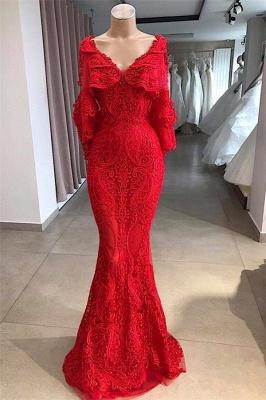 Stunning V-Neck Mermaid Prom Dresses Long With Beadings Online_1
