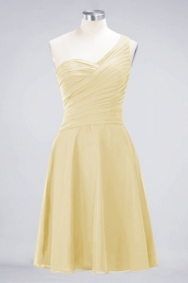 A-line Chiffon One-Shoulder Sweetheart Summer Knee-Length Bridesmaid Dress UK with Ruffles_17