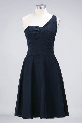 A-line Chiffon One-Shoulder Sweetheart Summer Knee-Length Bridesmaid Dress UK with Ruffles_27