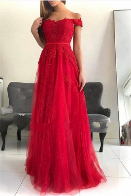 Stunning Off-the-Shoulder Appliques Tulle Fitted Floor-Length Exclusive Prom Dresses UK | New Styles_1