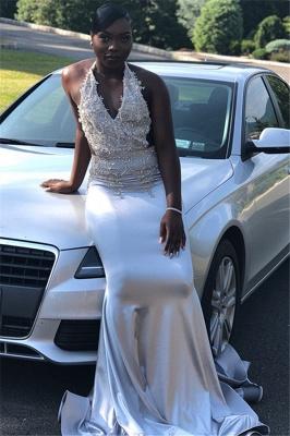 New Arrival Halter V-Neck Prom Dresses Sleeveless Mermaid Evening Gowns_4