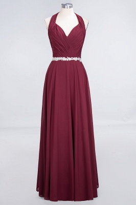 Charming Halter V-Neck Sleeveless Ruffle Bridesmaid Dress with Sashes Online_1