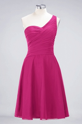 A-line Chiffon One-Shoulder Sweetheart Summer Knee-Length Bridesmaid Dress UK with Ruffles_9