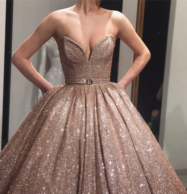 Charming Strapless Summer Ball Gown Sweep Train Prom Dress UKes UK_3