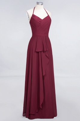 Amazing Chiffon Halter V-Neck Bridesmaid Dresses Sleeveless With Ruffles_3