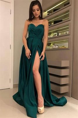 Chic Strapless Front Split Summer Floor-Length  A-line Prom Dress UKes UK_1