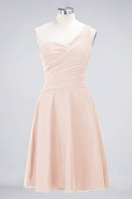 A-line Chiffon One-Shoulder Sweetheart Summer Knee-Length Bridesmaid Dress UK with Ruffles_5
