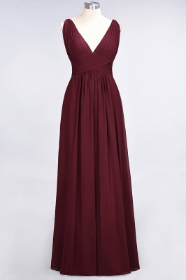 Glamorous Long Chiffon Ruffles Bridesmaid Dresses V-Neck Sleeveless Wedding Party Dress_2