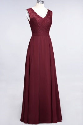 Modest Chiffon Lace Bridesmaid Dress V-Neck Sleeveless Online_4