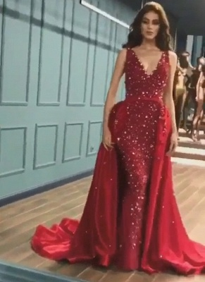 Glittering Mermaid V-Neck Rinestones Exclusive Prom Dresses UK with Overskirt | New Styles_2