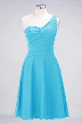 A-line Chiffon One-Shoulder Sweetheart Summer Knee-Length Bridesmaid Dress UK with Ruffles_23