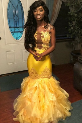 Chic Sleeveless Strapless Appliques Tulle Mermaid Floor-Length Exclusive Prom Dresses UK | New Styles_3