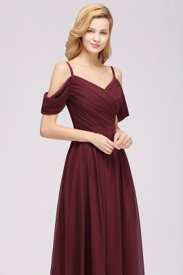 A-Line Chiffon Womens V-Neck Thin Straps Short-Sleeves Floor-Length Bridesmaid Dresses with Ruffles | Suzhoudress UK_5