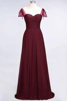 Elegant Chiffon Sweetheart Cap-Sleeves Bridesmaid Dress with Ruffles Beadings_2