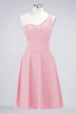 A-line Chiffon One-Shoulder Sweetheart Summer Knee-Length Bridesmaid Dress UK with Ruffles_4