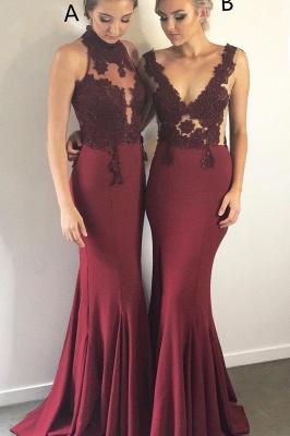 Burgundy Lace Bridesmaid Dresses   | Sleeveless Sheath Sexy Maid of Honor Dresses_4