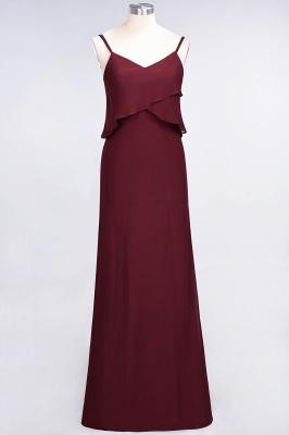 Modest Spaghetti-Straps V-Neck Mermaid Bridesmaid Dress Sleeveless Long_2